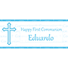 PERSONALIZED BLUE COMMUNION BANNER PARTY SUPPLIES