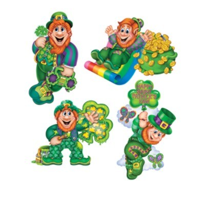 Click for larger picture of LEPRECHAUN CUTOUTS 14IN. (4/PKG-12/CASE) PARTY SUPPLIES