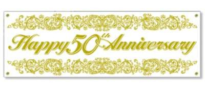 50TH ANNIVERSARY SIGN BANNER 63IN.X21IN. PARTY SUPPLIES