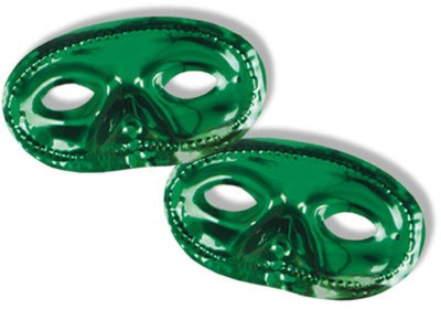 Click for larger picture of METALLIC HALF MASKS GREEN (24/PKG) PARTY SUPPLIES