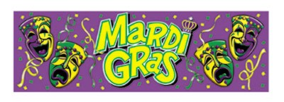 MARDI GRAS SIGN BANNER 63IN.X21IN.-12/CA PARTY SUPPLIES