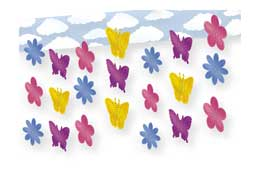 BUTTERFLY AND FLOWER 3-D SKY-SCAPE 12IN. PARTY SUPPLIES