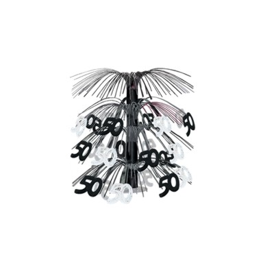 50TH CASCADE CENTERPIECE BLACK/ SILVER PARTY SUPPLIES