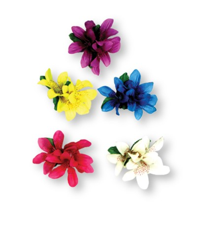 Click for larger picture of TIGER LILY FLOWER CLIP (12/CASE) PARTY SUPPLIES