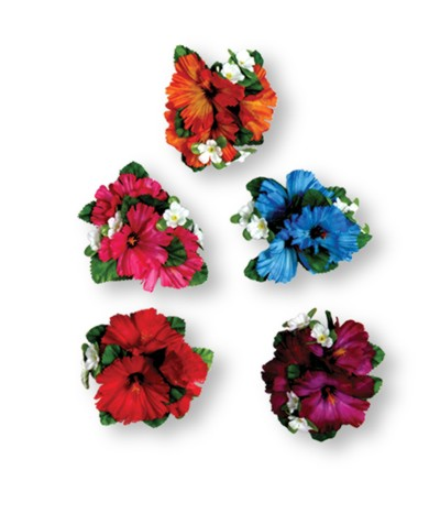 LARGE HIBISCUS FLOWER CLIP (12/CASE) PARTY SUPPLIES