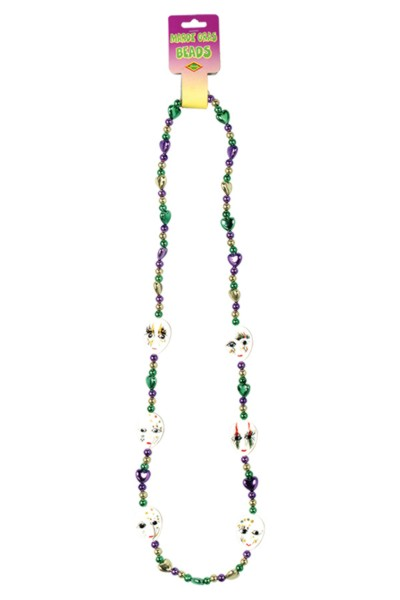 MARDI GRAS BEADS - MIME 42IN. (12/CASE) PARTY SUPPLIES