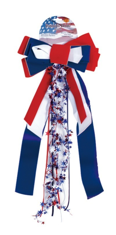 PATRIOTS PRIDE RIBBON VELVET BOW W/STAR PARTY SUPPLIES