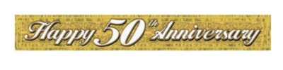 Click for larger picture of METALLIC ANNIVERSARY BANNER GOLD PRTD 1- PARTY SUPPLIES