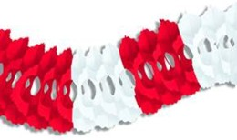 ARCADE GARLAND RED AND WHITE (12/CASE) PARTY SUPPLIES
