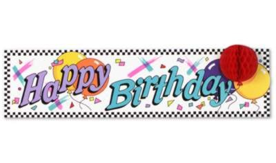 Click for larger picture of HAPPY BIRTHDAY SIGN W/TISSUE BALLOON 8IN PARTY SUPPLIES