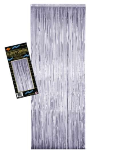 2-PLY FP GLEAM 'N CURTAIN SILVER 8'X3' PARTY SUPPLIES
