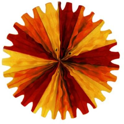 TISSUE FAN GOLDEN-YELLOW/ ORANGE/ RED PARTY SUPPLIES