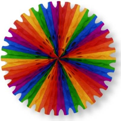 TISSUE FAN RAINBOW 25IN. PARTY SUPPLIES