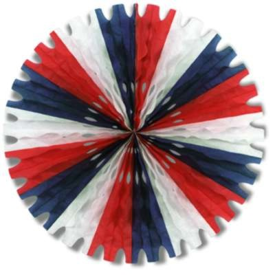 TISSUE FAN RED/ WHITE/ BLUE 25IN. PARTY SUPPLIES