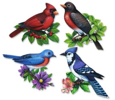 Click for larger picture of PKGD SONGBIRD CUTOUTS PRTD 2 SIDES 16IN. PARTY SUPPLIES