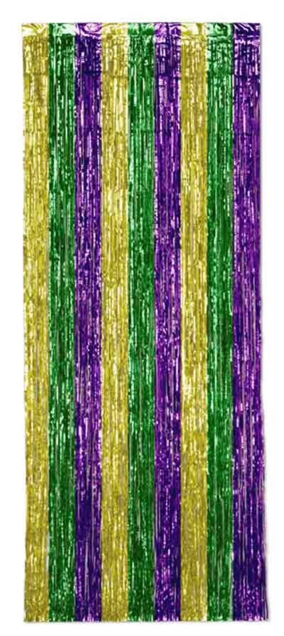 CURTAIN GOLD/ GREEN/ PURPLE (6/CASE) PARTY SUPPLIES