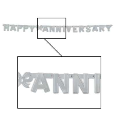 FOIL HAPPY ANNIVERSARY STREAMER SILVER PARTY SUPPLIES