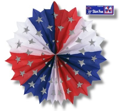 RED/ WHITE AND BLUE STAR FAN 22IN. PARTY SUPPLIES