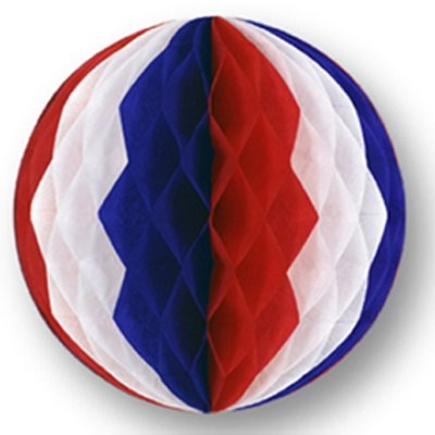 TISSUE BALL RED/ WHITE/ BLUE 12IN. PARTY SUPPLIES