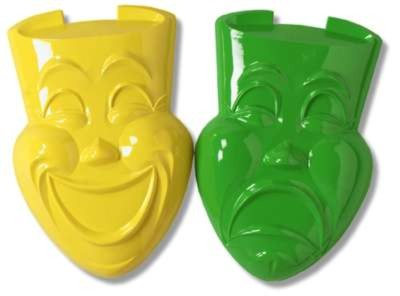 PLASTIC COMEDY AND TRAGEDY FACES (24/CAS PARTY SUPPLIES