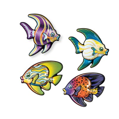 TROPICAL FISH 3-D ART-FORMS PLASTIC DIM PARTY SUPPLIES