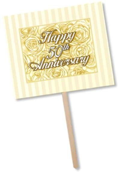 50TH ANNIVERSARY YARD SIGN PRTD 2 SIDES PARTY SUPPLIES