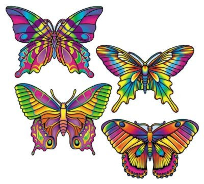 BUTTERFLY CUTOUTS PRTD 2 SIDES 16IN. PARTY SUPPLIES