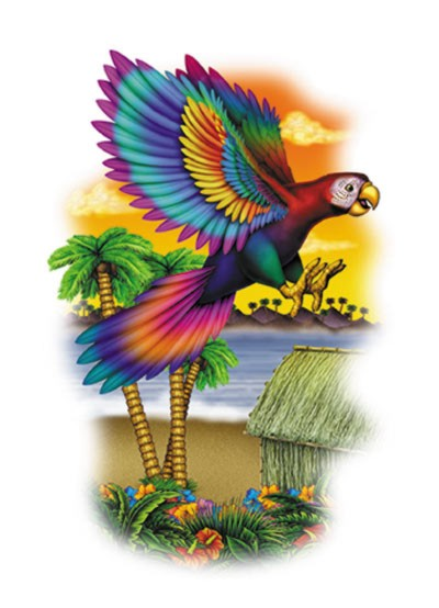 parrot tattoo. PARROT 3-D ART-FORM PLASTIC