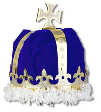 bulk hats party supplies royal kings crown blue velvettextured