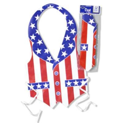RED/ WHITE AND BLUE PLASTIC VEST FULL SI PARTY SUPPLIES