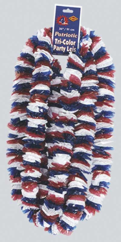 TRI-COLOR PATRIOTIC SOFT-TWIST POLY LEIS PARTY SUPPLIES