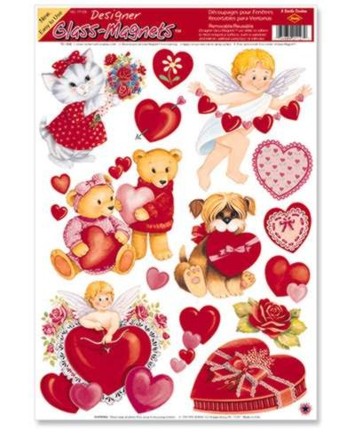 Click for larger picture of VALENTINE GLASS-MAGNETS (12/CASE) PARTY SUPPLIES