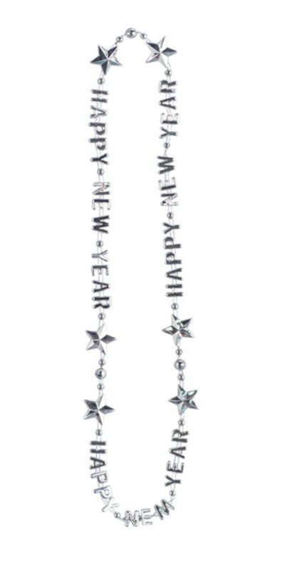 Click for larger picture of HAPPY NEW YEAR SILVER BEADS (EACH) PARTY SUPPLIES