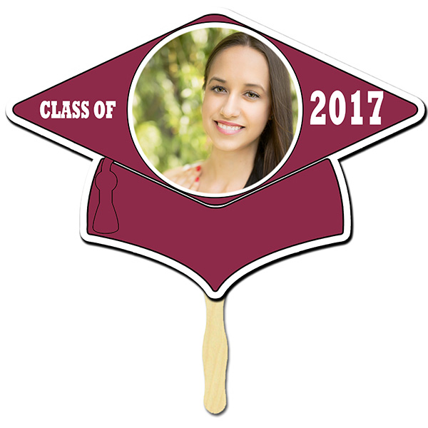 Click for larger picture of BURGUNDY GRAD CAP PHOTO PADDLE PARTY SUPPLIES