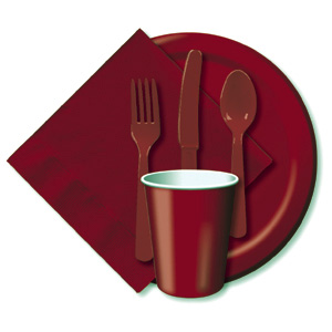 BULK BURGUNDY TABLEWARE
