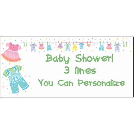 Click for larger picture of PERSONALIZED BABY CLOTHES BANNER PARTY SUPPLIES