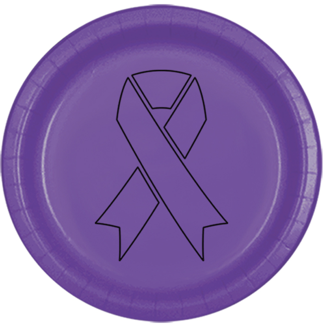 CANCER AWARE PURPLE RIBBON DESSERT PLATE PARTY SUPPLIES