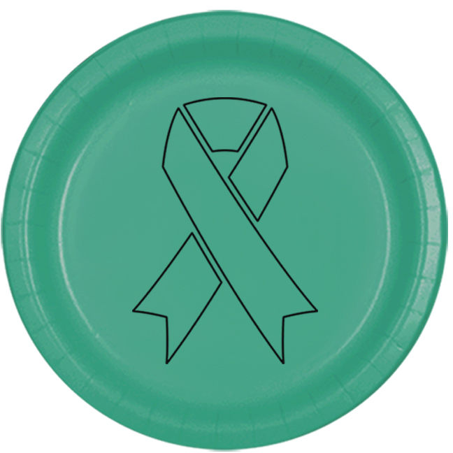 CANCER AWARE TEAL RIBBON DESSERT PLATE PARTY SUPPLIES