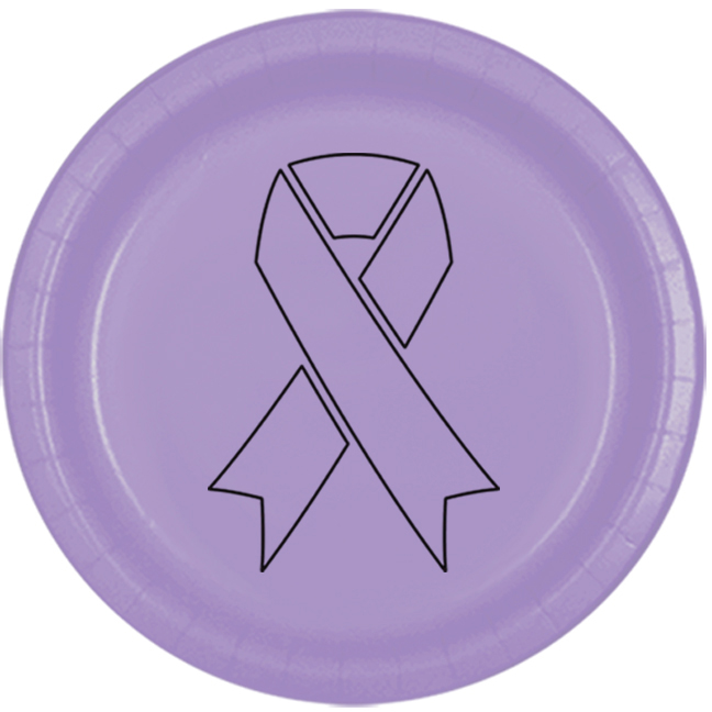 CANCER AWARE LAVENDER RIBBON DINNER PLAT PARTY SUPPLIES