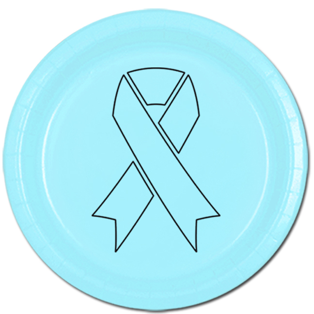 CANCER AWARE LT BLUE RIBBON DINNER PLATE PARTY SUPPLIES