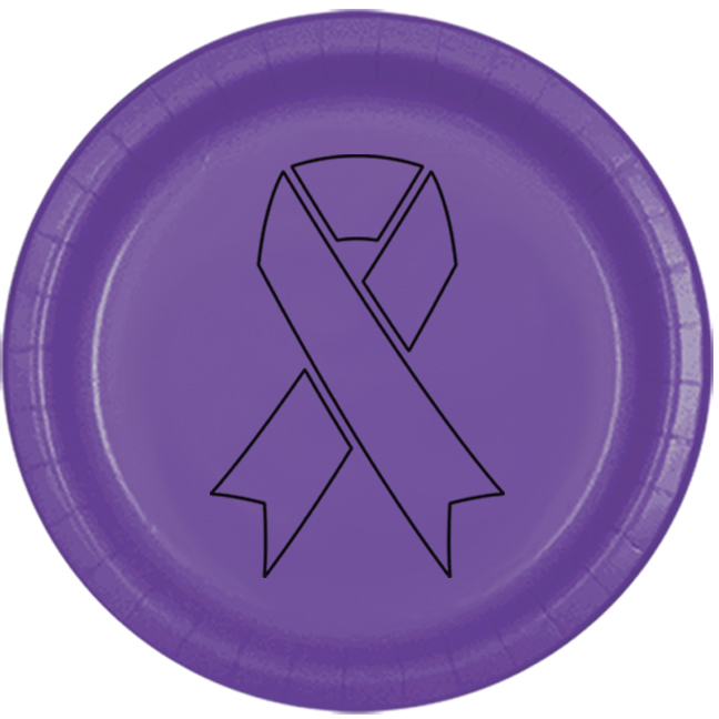 CANCER AWARE PURPLE RIBBON DINNER PLATE PARTY SUPPLIES