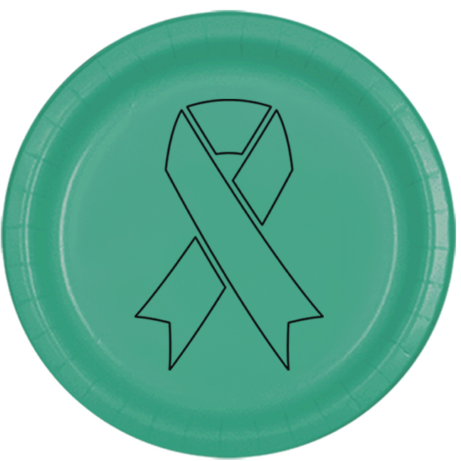 CANCER AWARE TEAL RIBBON DINNER PLATE PARTY SUPPLIES