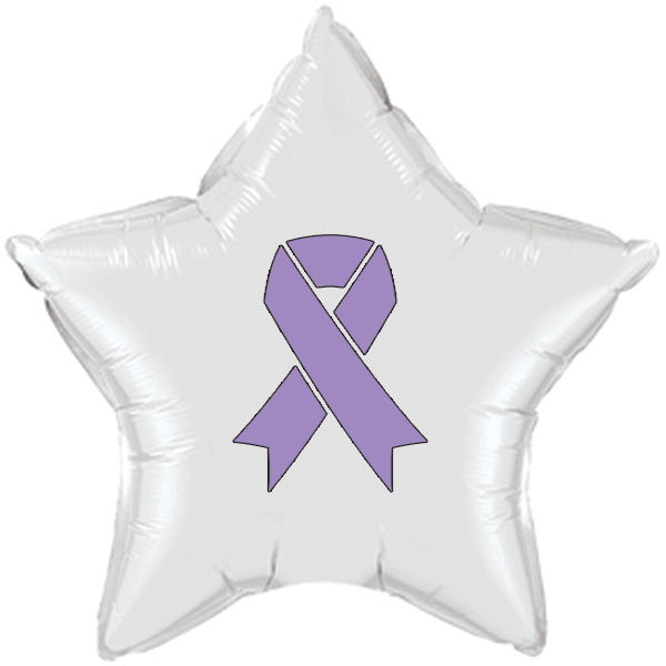 CANCER AWARE LAVENDER RIBBON MYLAR BALLO PARTY SUPPLIES