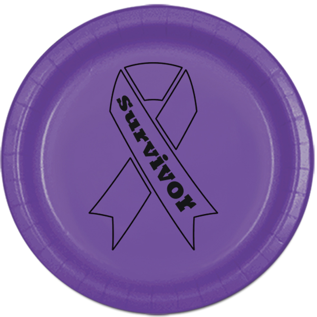 CANCER AWARE PURPLE SURVIVOR DESSERT PLA PARTY SUPPLIES
