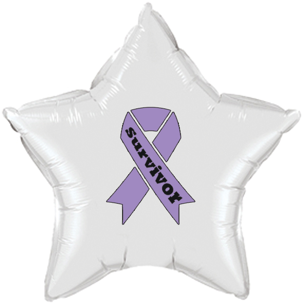 CANCER SURVIVOR LAVENDER RIBBON MYLAR BA PARTY SUPPLIES