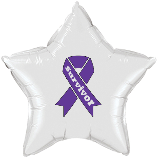 CANCER SURVIVOR PURPLE RIBBON MYLAR BALL PARTY SUPPLIES