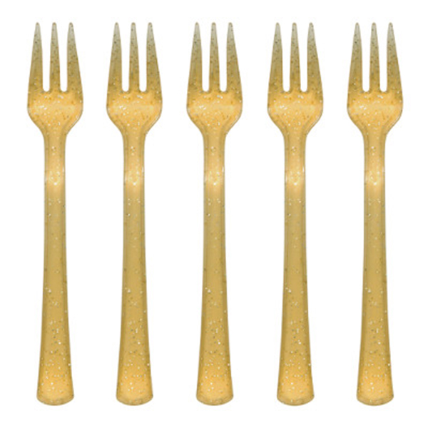 GOLD GLITTER PLASTIC MINI CUTLERY (288/C PARTY SUPPLIES
