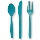 Click for larger picture of TURQUOISE CUTLERY COMBO PACK (24CT) PARTY SUPPLIES