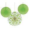 LIME DOTS-STRIPES PAPER FANS (18/CS) PARTY SUPPLIES