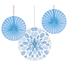 LT BLUE PAPER FANS (18/CS) PARTY SUPPLIES